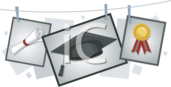 Royalty Free Clipart Image of Graduation Elements Hanging From a Clothesline