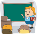 Royalty Free Clipart Image of a Teacher at the Chalkboard