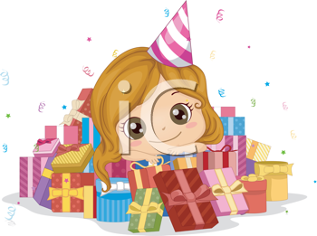 Royalty Free Clipart Image of a Little Girl Surrounded by Presents