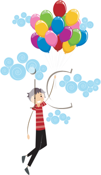 Royalty Free Clipart Image of a Boy Holding a Bouquet of Balloons