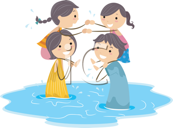 Royalty Free Clipart Image of a Family Playing a Game
