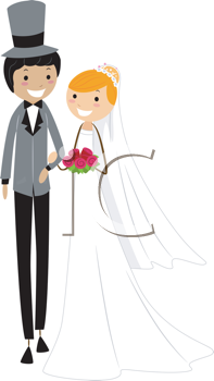 Royalty Free Clipart Image of an Inter-Racial Couple