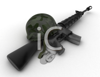 3D Illustration of a Rifle, Military Helmet, and Dog Tag