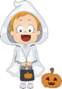 Illustration of a Baby Dressed as a Ghost