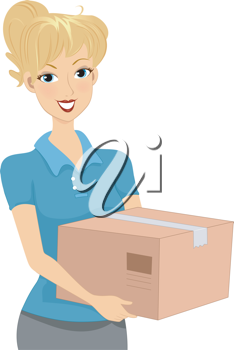 Illustration of a Girl Carrying a Package / Donation Box