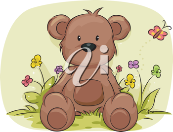 Illustration of a Toy Bear Surrounded by Plants