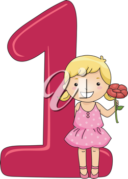 Illustration of a Kid Holding a Flower