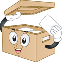 Royalty Free Clipart Image of a Box With Papers