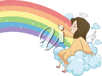 Illustration of a Laughing Girl Angel Sitting on a Cloud and Pointing on a Rainbow
