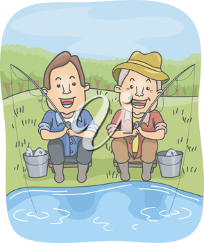 Illustration of a Father and Son Holding Fishing Rods While Waiting for More Catch