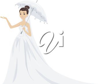 Illustration of a Lovely Bride in Her Wedding Gown Standing Under a White Umbrella