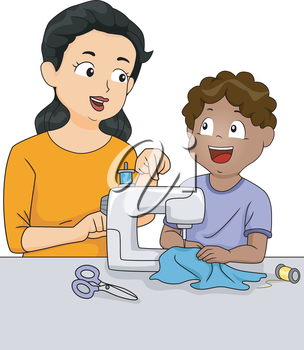 Illustration of a Teacher Teaching a Male Student How to Sew