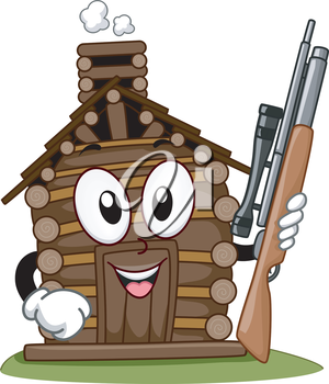 Mascot Illustration Featuring a Hunting Cabin Holding a Rifle