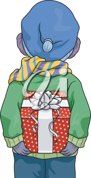 Illustration Featuring a Boy Hiding a Gift Behind His Back