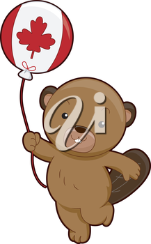 Mascot Illustration of a Beaver Holding a Balloon Marked With the Canadian Flag