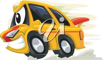 Mascot Illustration of a Racing Car Revving Furiously