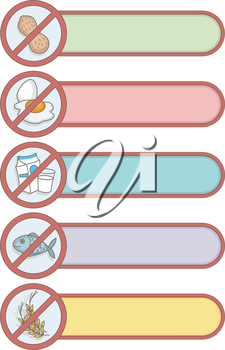 Illustration of Ready to Print Labels Featuring Common Allergies