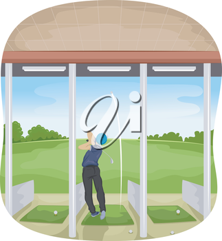 Illustration of a Man Playing Golf in a Driving Range