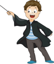 Illustration of a Little Boy Dressed as a Wizard Waving His Wand
