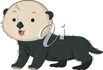 Illustration of a Cute Sea Otter Smiling Happily