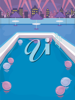 Illustration of a Pool Party on the Rooftop of a Building
