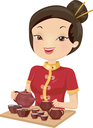 Illustration of a Girl in a Cheongsam Preparing Tea