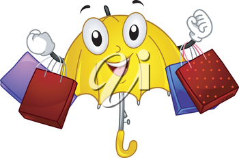 Mascot Illustration of an Umbrella carrying shopping bags in a rainy day