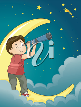 Astronomy Illustration of a Kid Boy Star Gazing with a Telescope