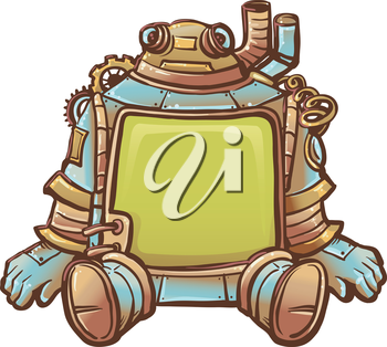 Steampunk Illustration of a Robot with a Blank Frame for a Body
