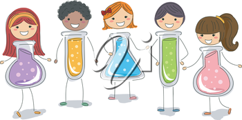 Stickman Illustration of Kids Shaped Like Test Tubes