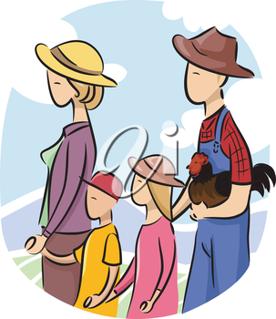 Illustration of a Family walking with Chicken