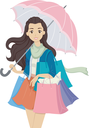 Illustration of a Teenage Girl Carrying Multiple Shopping Bags