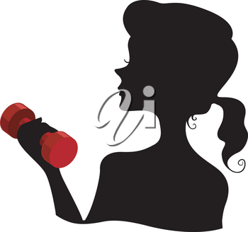Illustration Featuring the Silhouette of a Woman Holding a Dumbbell