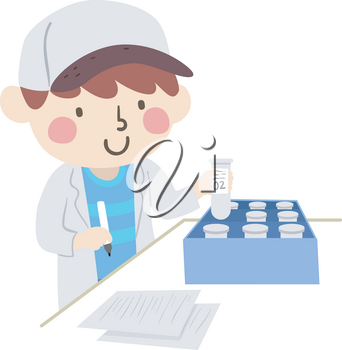 Illustration of a Kid Boy Wearing White Lab Gown, Holding Pen and Writing Labels on Specimen