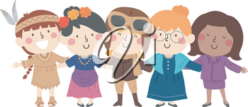 Illustration of Diverse Kids Girls Wearing Different Costumes from Native American to Office Worker for National Woman Heritage