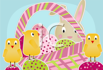 Royalty Free Clipart Image of the Easter Bunny With a Basket of Eggs and Chickens
