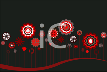 Royalty Free Clipart Image of Red, White and Grey Flowers on Black