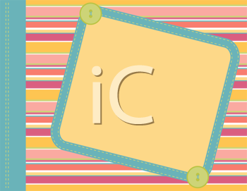 Royalty Free Clipart Image of a Rectangular Frame on a Striped Background With Buttons and Stitching