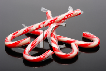 Royalty Free Photo of Candy Canes on Black