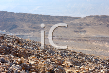 Royalty Free Photo of Stones of Makhtesh Ramon, a Unique Crater in Israel