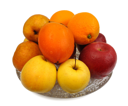Royalty Free Photo of Fruits on a Glass Dish
