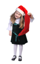Royalty Free Photo of a Little Girl Holding a Stocking and Wearing a Santa Hat
