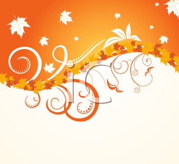 Royalty Free Clipart Image of an Autumn Floral Background
