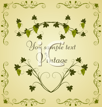 Royalty Free Clipart Image of Decorative Grape Vines