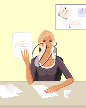 Illustration business women with documents in office - vector