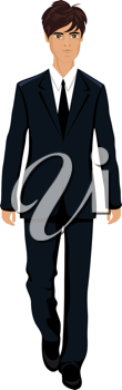 Illustration businessman in suit isolated - vector