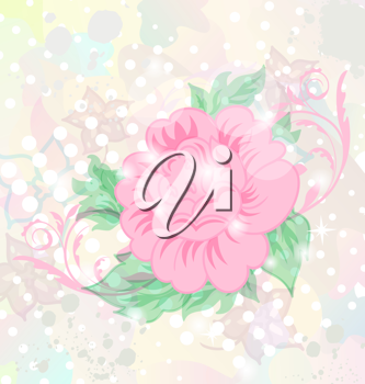 Illustration abstract romantic grunge background with flower - vector