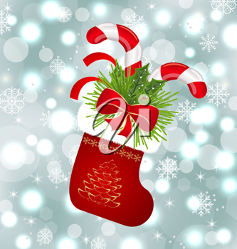 Illustration Christmas sock with sweet canes - vector