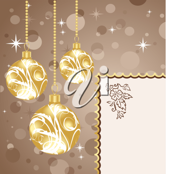 Illustration Christmas balls with card - vector