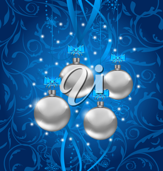 Illustration blue holiday background with Christmas balls - vector